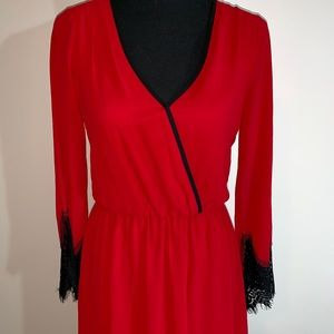 Dresses & Skirts - Red Dress with Lace Sleeves